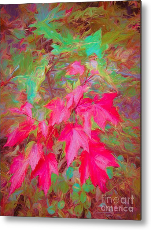 Autumn Metal Print featuring the mixed media Autumn Flame by Susan Lafleur