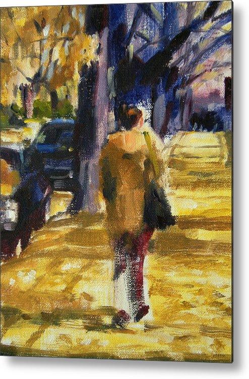 New York Metal Print featuring the painting Autumn In New York by Merle Keller