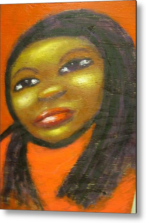 Lady In A Red Dress Metal Print featuring the painting B by Jan Gilmore