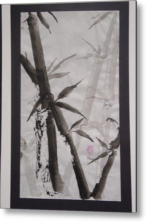 Bamboo Metal Print featuring the painting Bamboo by Robin Miller-Bookhout