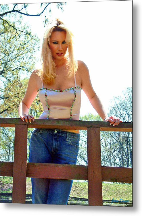 Glamour Metal Print featuring the photograph Behind The Fence by John Dauer