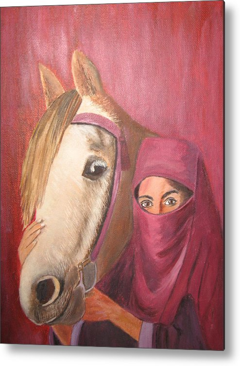 Escape Horse Metal Print featuring the painting Behind The Veil by Terri Warner