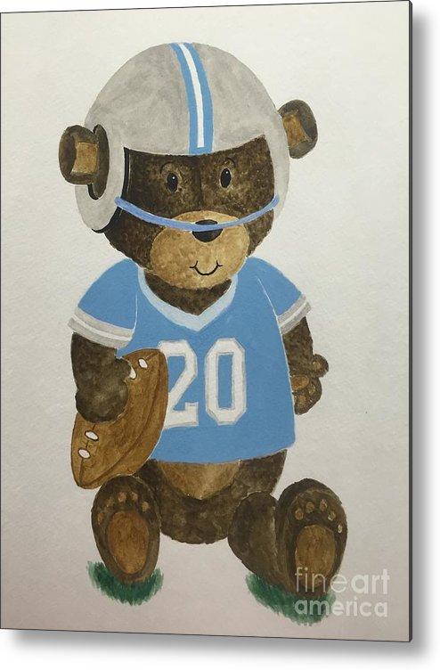 Kids Metal Print featuring the painting Benny Bear Football by Tamir Barkan