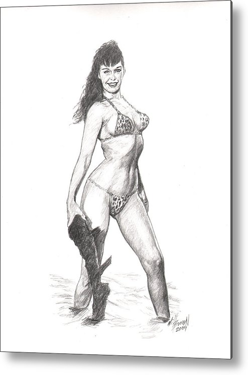 Betty Page Metal Print featuring the drawing Betty Jungle Girl by Will Brown