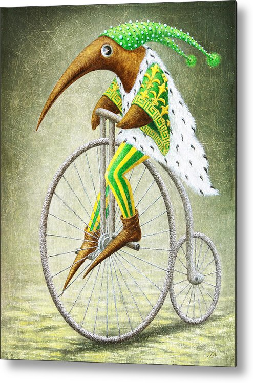 Bicycle Metal Print featuring the painting Bicycle by Lolita Bronzini