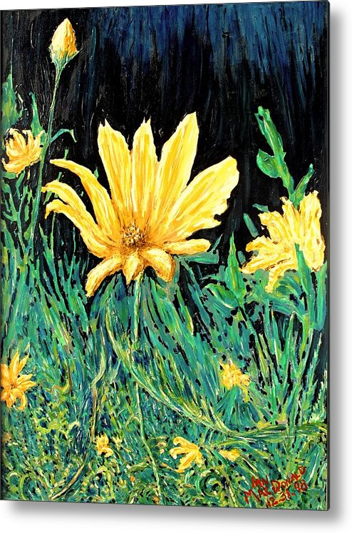 Flower Metal Print featuring the painting Big Yellow by Ian MacDonald