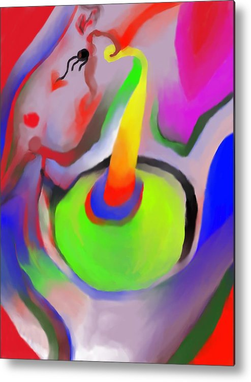 Colorful Metal Print featuring the digital art Birthday Surprise by Peter Shor