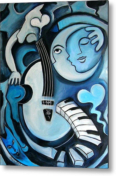 Abstract Metal Print featuring the painting Black And Bleu by Valerie Vescovi