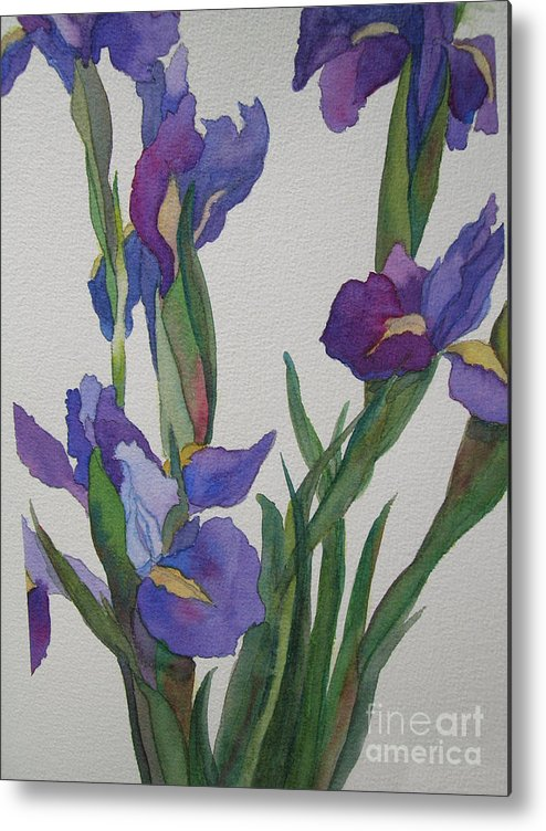 Blue Metal Print featuring the painting Blue Iris by Jeff Friedman