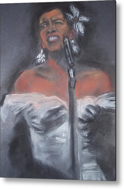 Billie Holliday Metal Print featuring the drawing Blue Lady by Darryl Hines