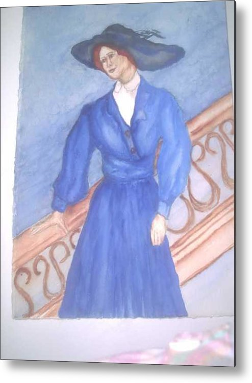 Image Caught My Imagination Metal Print featuring the painting Blue Lady by Nancy Caccioppo