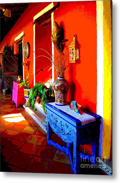 Darian Day Metal Print featuring the photograph Blue Table By Darian Day by Mexicolors Art Photography