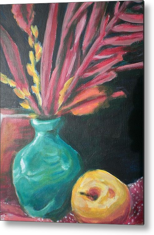 Metal Print featuring the painting Blue Vase With Red by Aleksandra Buha