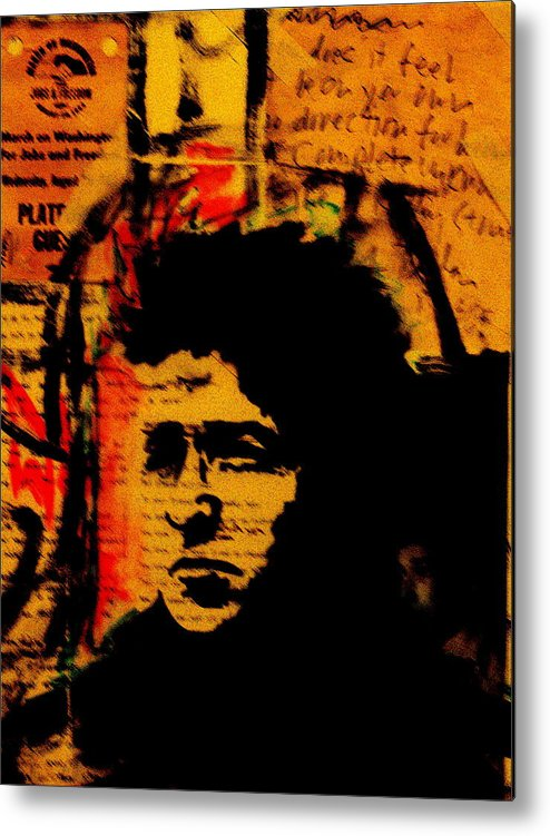 Portraits/collage/paintings Metal Print featuring the painting Bob Dylan by Jeff DOttavio
