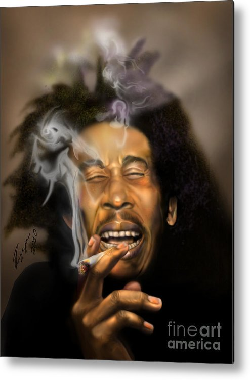 Bob Marley Metal Print featuring the painting Bob Marley-burning Lights 3 by Reggie Duffie