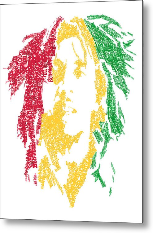 Bob Marley Metal Print featuring the digital art Bob Marley Typography by Jimi Bush