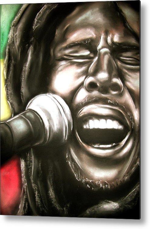 Bob Metal Print featuring the drawing Bob Marley by Zach Zwagil