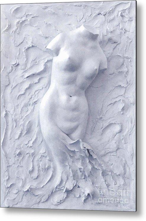 White Metal Print featuring the sculpture Born Again by Elena Fattakova