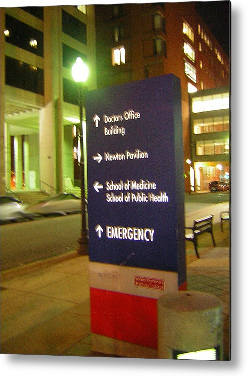 Boston Medical Center. Hospital Metal Print featuring the photograph Boston Medical At Night by Heather Weikel