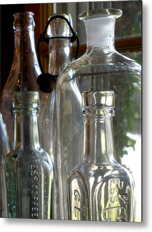 Glass Metal Print featuring the photograph Bottle Necks by Richard Mansfield