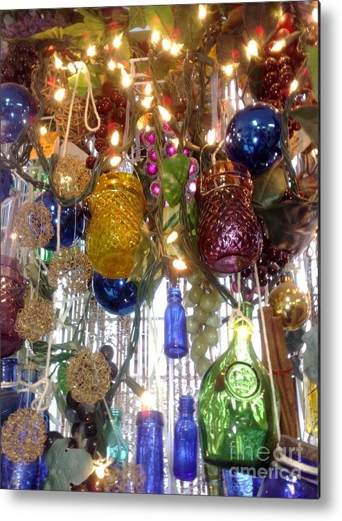Colored Bottles And Jars Hanging Metal Print featuring the photograph Bottles And Jars by Deborah Selib-Haig DMacq
