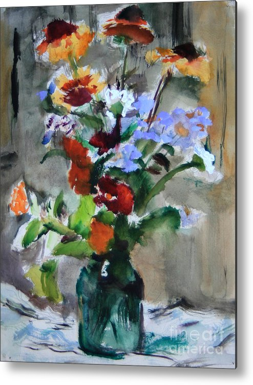 Bouquet Metal Print featuring the painting Bouquet by Andrey Semionov