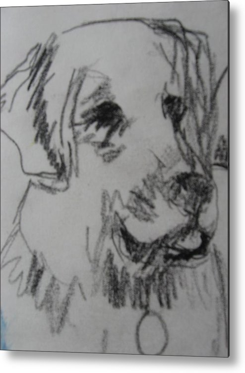 Drawing Metal Print featuring the drawing Boy And Dog Under Sky by Melody Horton Karandjeff
