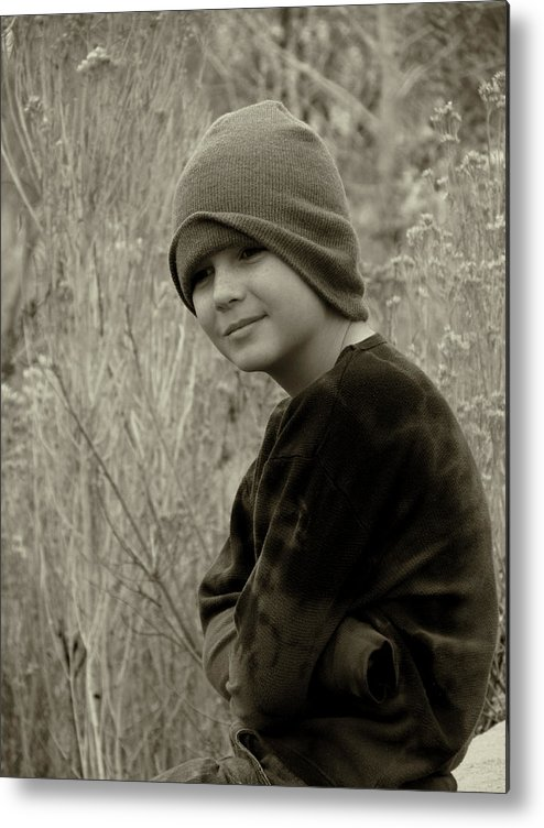 Young Boy Metal Print featuring the photograph Boy On Fence Smiling - Sepia by Lawrence Drake