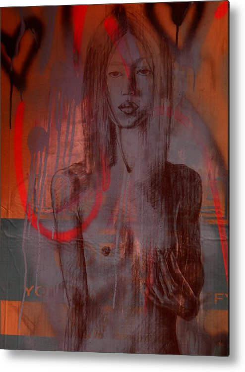 Breast Cancer Metal Print featuring the mixed media Breast Cancer Examination by J Oriel
