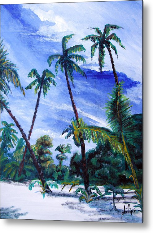 Palms Sky Blue Metal Print featuring the painting Breezy Blue Skies by Jim Phillips