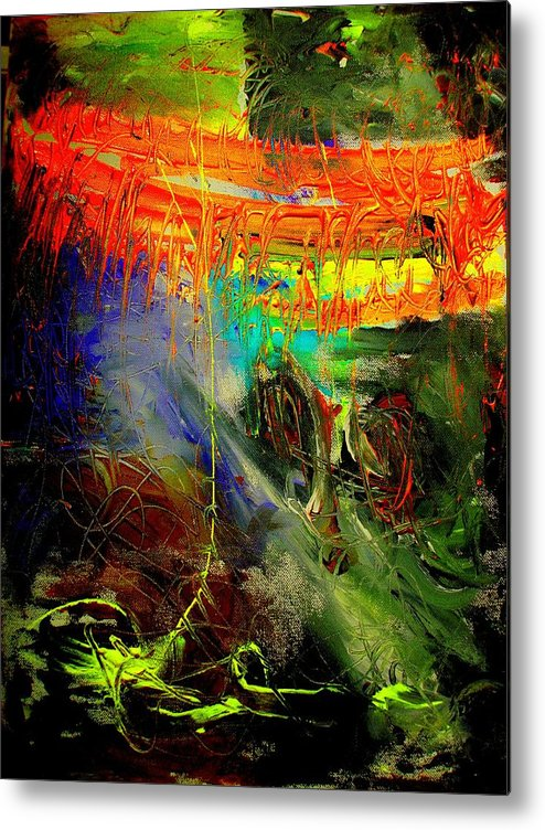 Abstract Prinst Metal Print featuring the painting Bridge To Heaven by Teo Santa