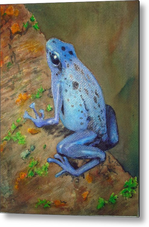 Animal Metal Print featuring the painting Brilliant Blue Poison Dart Frog by Kerra Lindsey