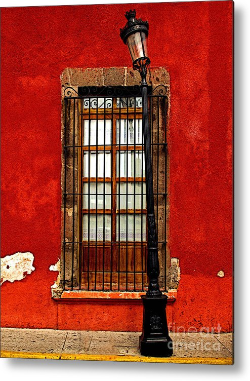 Tlaquepaque Metal Print featuring the photograph Broken Lamp Post by Mexicolors Art Photography
