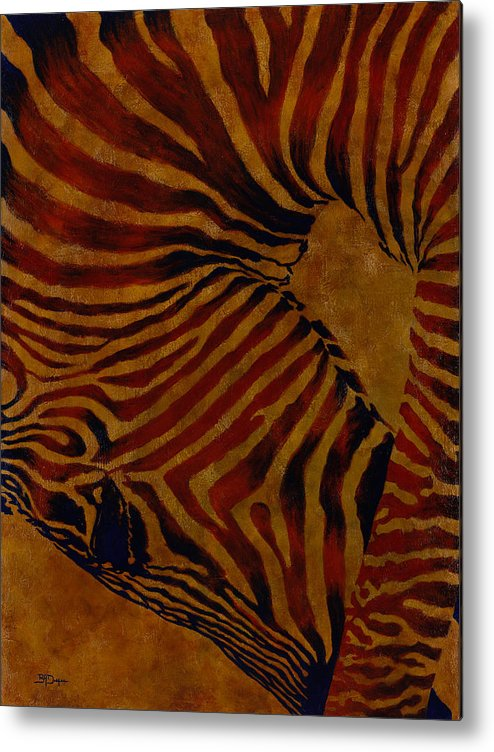 Zebra Metal Print featuring the painting Buckin' Wild by Beth A Doellefeld