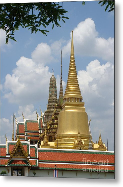 Buddhist Metal Print featuring the photograph Buddhist Chedi - Bangkok by Mike Holloway