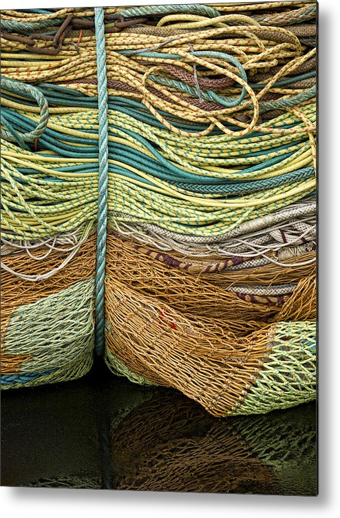 Fishing Metal Print featuring the photograph Bundle Of Fishing Nets And Ropes by Carol Leigh
