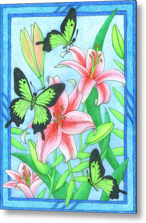 Flower Metal Print featuring the drawing Butterfly Idyll- Lilies by Alison Stein