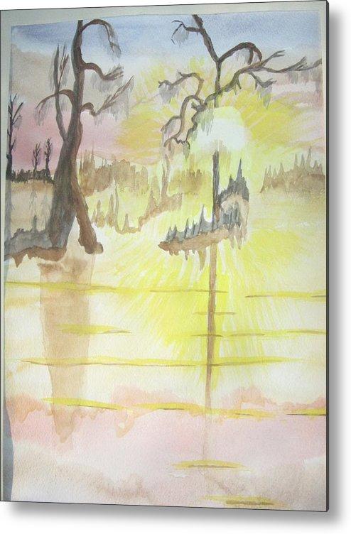 Landscape Watercolor Metal Print featuring the painting Cajun Sunrise by Warren Thompson