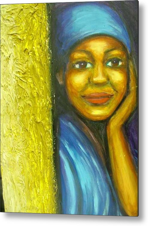 Metal Print featuring the painting Caribbean Mystery Lady by Jan Gilmore