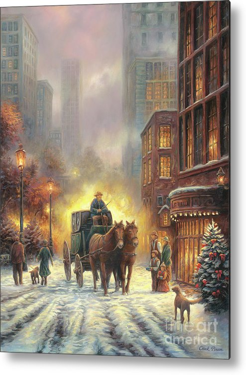 City Snow Scene Metal Print featuring the painting Carriage Ride by Chuck Pinson