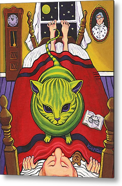 Rebecca Korpita Metal Print featuring the painting Cat - Alien Abduction by Rebecca Korpita