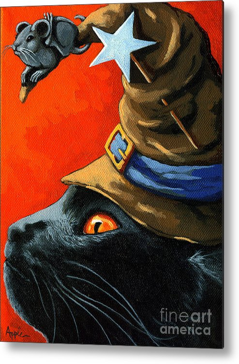 Black Cat Metal Print featuring the painting Cat In The Hat With Company by Linda Apple