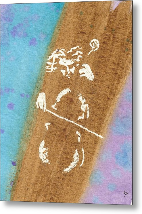 Watercolor Metal Print featuring the painting Cellist by Louise Marquis