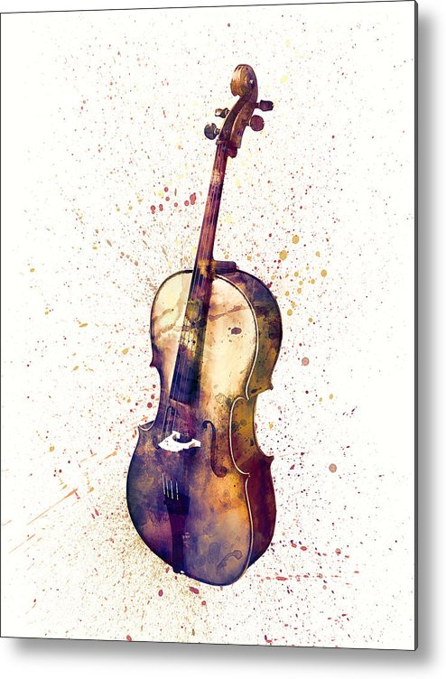 Cello Metal Print featuring the digital art Cello Abstract Watercolor by Michael Tompsett