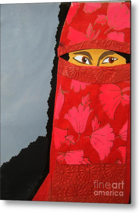 Woman Metal Print featuring the mixed media Chador by Debra Bretton Robinson