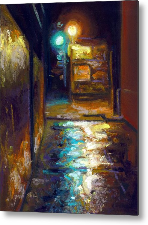 Pastel Realism Cityscape Lightsn Alley Street Metal Print featuring the painting Charleston Alley by Cameron Hampton PSA