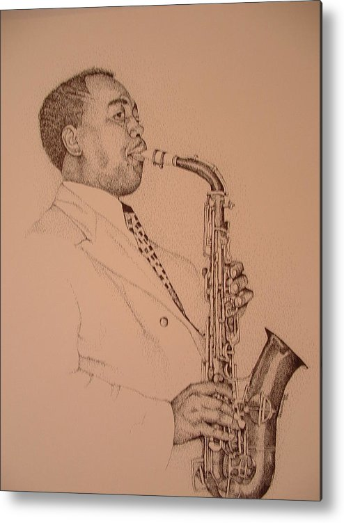 Sax Player Metal Print featuring the drawing Charlie Parker by Leonard R Wilkinson