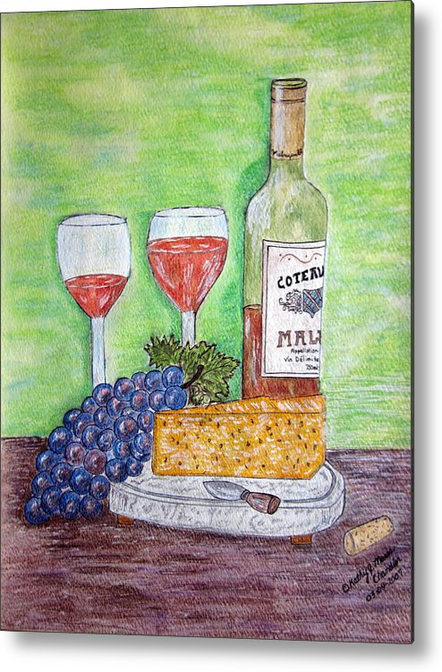 Cheese Metal Print featuring the painting Cheese Wine And Grapes by Kathy Marrs Chandler