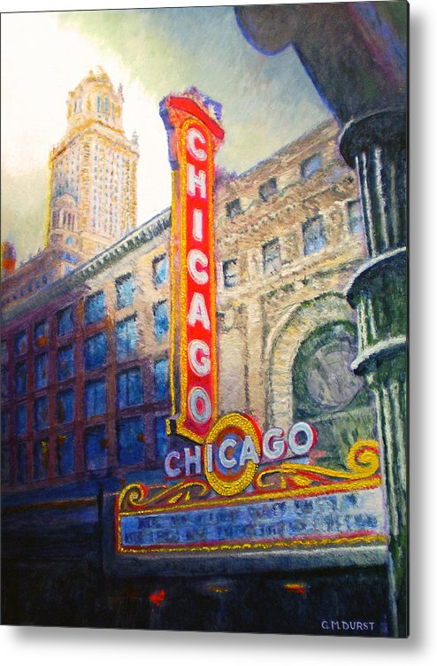 Chicago Metal Print featuring the painting Chicago Theater by Michael Durst