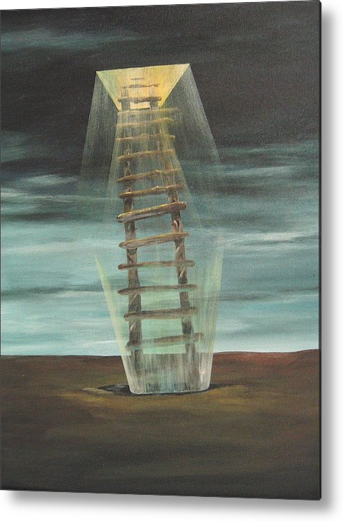 Surrealism Metal Print featuring the painting Chickasaw's Ladder by K Hoover